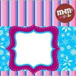 Rótulo Mini M&M Flocos de Neve Azul Tiffany e Rosa: